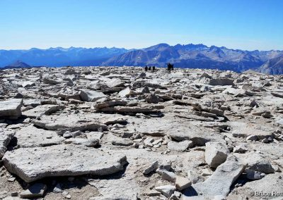 Hikers negotiating the summit